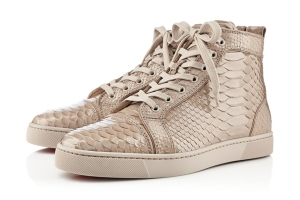 LOVE LOUBOUTIN For spring 2013, the French shoe house has on offer this pair of luxury hi-top, the Louis Flat Python, featuring different  scales of snakeskin patterns in tonal beige. The counterfeiters will have no point of copying this if you don't buy, except at legitimate stores.